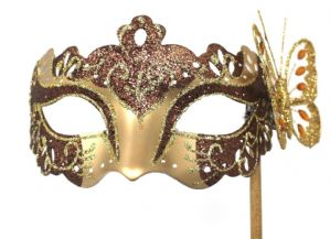 Brown and Gold Mask - Mask on Stick | Masks and Tiaras